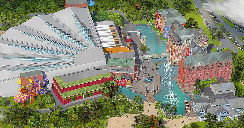 Zeichnung Hotel und Wasserpark